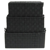 Black Nylon Rectangle Basket Set with Lids